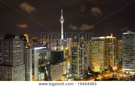 Malaysia -  Kuala Lumpur Cityscape with KL tower at night (large format photography)