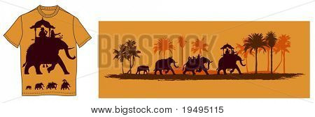 Vector illustration of  Indian elephants