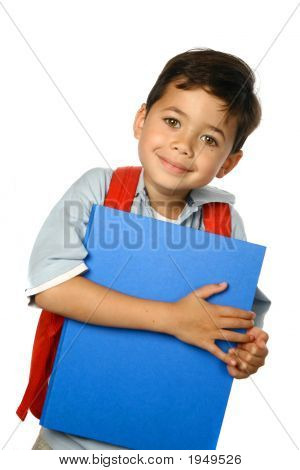 Young Boy With Blue Folder And Red Rucksack