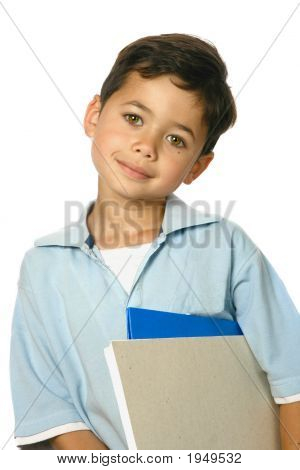 Young Schoolboy With Folder And Notebook