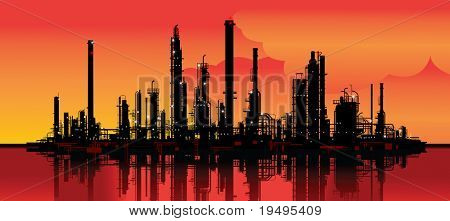 Vector illustration of an oil refinery