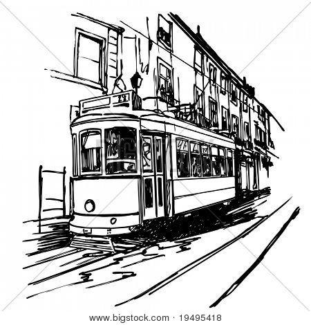 Ilustración del vector de un típico tranvía en Lisboa - Portugal