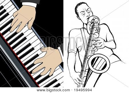 Vector illustration of pianist and saxophonist