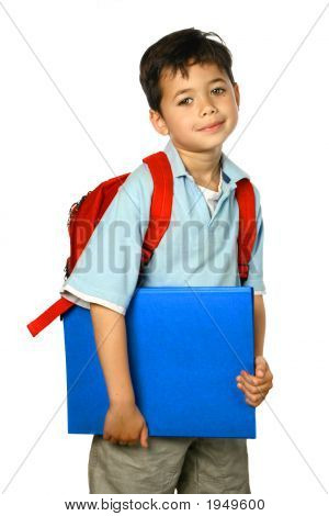 Young Schoolboy With Red Rucksack