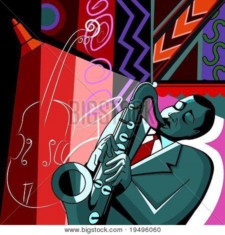 Vektor-Illustration der Saxophonist auf einen farbigen Hintergrund