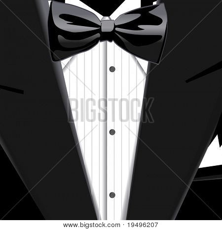 Vector illustration of suit and bow tie