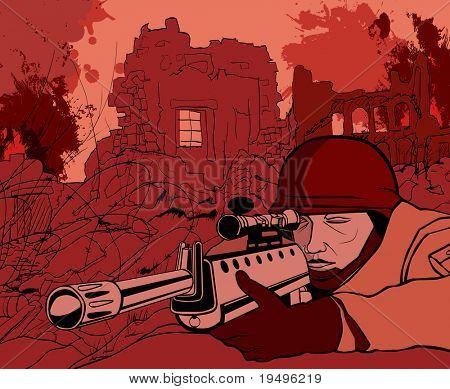 vector illustration of a sniper in a battle field