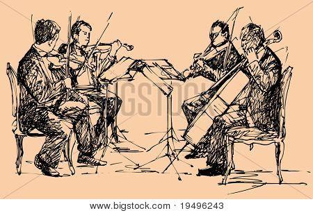 vector illustration of string chamber quartet