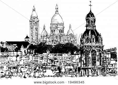 Vector illustration of a hand drawing view of Sacre Coeur in Paris