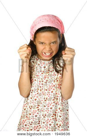 Young Girl With Both Hands In Fist Looking Angry