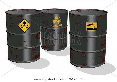 Ilustración de vector de aceite y barril químico aislado en blanco