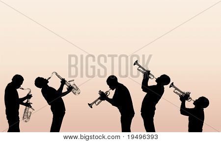 Vector Illustration of jazz Messing-Musiker