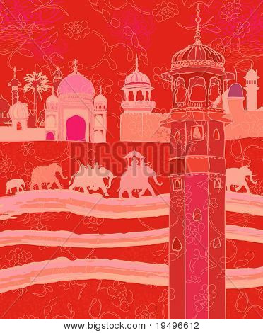 Vector illustration of Indian decor with elephants