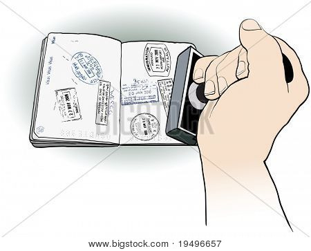vector illustration of an officer stamping a passport