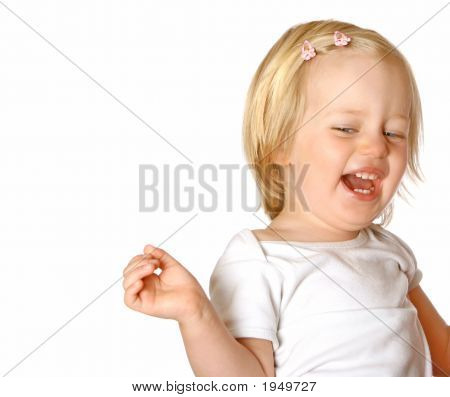 Girl Toddler Laughing Out Loud Isolated