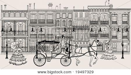 Arte imaginativo de vector que representa una calle en el estilo de nueva orleans con carro de caballos y mujeres