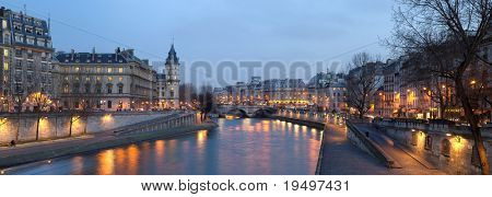 France Paris - view from Pont Neuf bridge at night