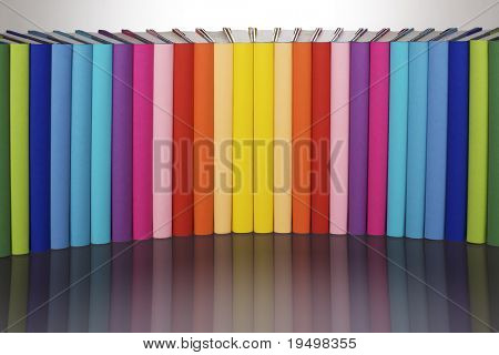 Symmetrical curve alignment of in rainbow colors paper wrapped books with blank spine facing front and reflection, view from front-above, PHOTOGRAPH, NOT 3D RENDER.