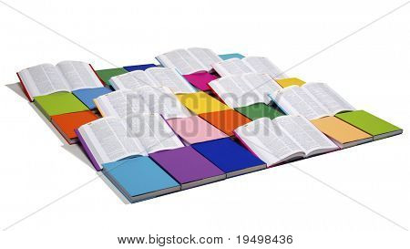 Flat squared arrangement of in rainbow colors paper wrapped books and open books isolated on white background, view from top-left, PHOTOGRAPH, NOT 3D RENDER.