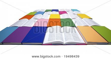 Flat squared arrangement of in rainbow colors paper wrapped books and open books isolated on white background, view from front-top, PHOTOGRAPH, NOT 3D RENDER.