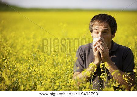Joven en campo amarillo canola soplar su nariz y sufre de alergia al polen.