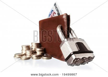 Brown leather wallet with Euro paper money and coins locked with silver steel padlock, isolated on white background.