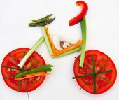 picture of healthy food  - Symbolical bicycle made of vegetables as symbol and sign for vitality and healthy lifestyle - JPG