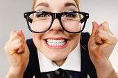 Постер, плакат: Close Up Of Happy Crazy Business Woman