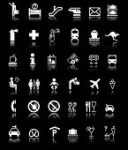 Airport and Hotel Signs Symbols in Black light poster