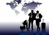 Постер, плакат: Деловой человек перед карта мира