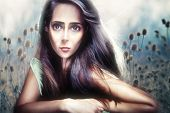 young beautiful woman portrait in anime style composite photo poster