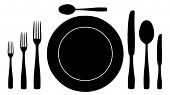 pic of collate  - complete set of silverware for dinner in vector design - JPG
