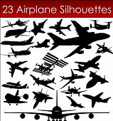 stock photo of rotor plane  - Airplane silhouettes in vector art - JPG