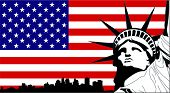 picture of usa flag  - Statue of Liberty on the USA Flag with New York silhouette - JPG