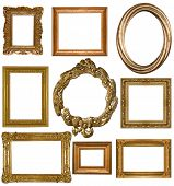 stock photo of adornments  - picture gold frame on a white - JPG