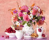 stock photo of beautiful flower  - bouquet of flowers autumn in a vase - JPG