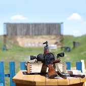 stock photo of sub-machine-gun  - Submachine gun on shooting range - JPG