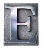 3D rendering an upper case E   letter in metallic typescript print (part of a matching alphabet)
