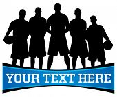 Vector illustration of a basketball team silhouette with copy space for text below poster