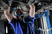 Auto mechanic working under the car - a series of MECHANIC related images.
