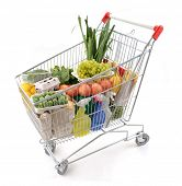 stock photo of grocery-shopping  - Shopping trolley viewed from side  - JPG