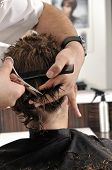 picture of hair cutting  - Professional hairdresser cutting childs hair in beauty saloon - JPG