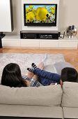 Постер, плакат: Лежа на диване и смотреть телевизор серию изображений смотреть телевизор