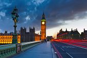 stock photo of westminster bridge  - Big Ben at night - JPG