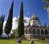 stock photo of beatitudes  - Roman Catholic Franciscan chapel on Mount of Beatitudes in the Galilee - JPG