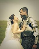 long-awaited meeting / Princess Bride and her knight / retro style toned