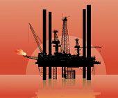 foto of oil rig  - Vector illustration of a drilling platform in sea - JPG