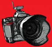 Vector illustration of digital professional camera (hand drawing)