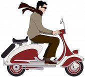 image of vespa  - Vector illustration of an Italian boy on a scooter - JPG
