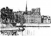 Vector illustration of Paris- Ile de la Cite (hand drawing)